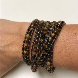 Jewelry - Brown Leather Wrap Bracelet with Tigers Eye Beads